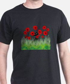black cat poppies T-Shirt