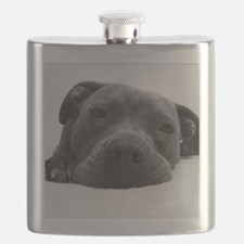 Cute Black And White Pit Bull Face Flask