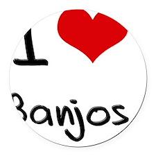 I Love Banjos Round Car Magnet