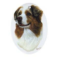 Aust Shep Head Oval Ornament