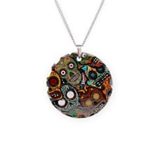 Day Of The Dead Old Paint Necklace Circle Charm