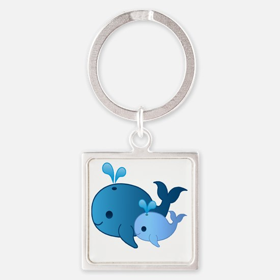 Baby Whale Square Keychain