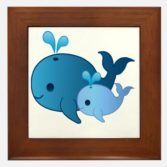 Baby Whale Framed Tile