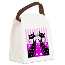 quilt whimsical cats Canvas Lunch Bag