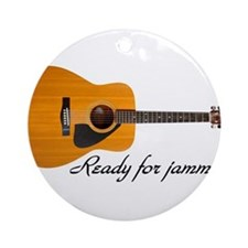 ready for jammin acoustic guitar Ornament (Round)