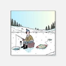 "Ice-fishing Pizza bait Square Sticker 3"" x 3"""