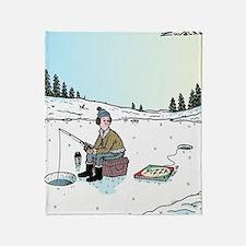 Ice-fishing Pizza bait Throw Blanket