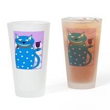 Whimsical Cat and Bird BLUE Drinking Glass