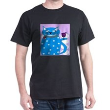 Whimsical Cat and Bird BLUE T-Shirt