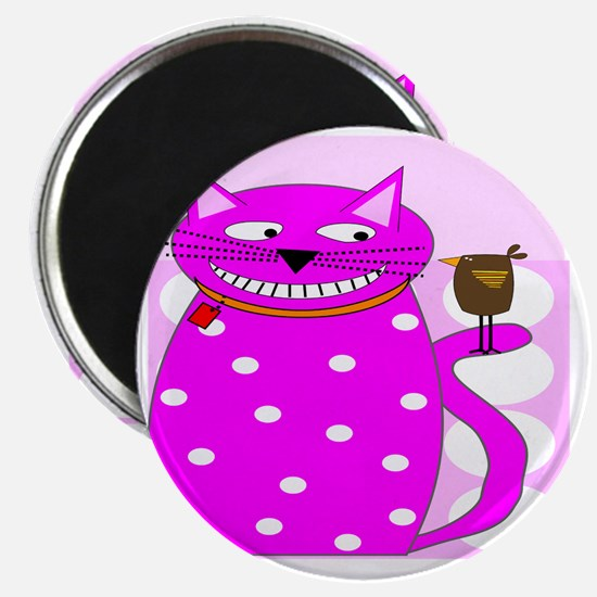 Whimsical Cat and Bird Magnet