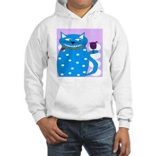 Whimsical Cat and Bird BLUE Hoodie