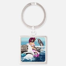 m_shower_curtain Square Keychain