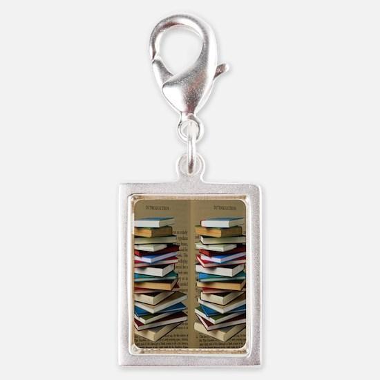 Book Lovers Flip Flops Silver Portrait Charm