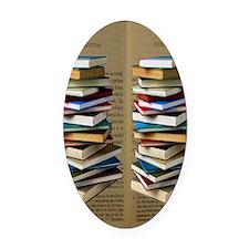 Book Lovers Flip Flops Oval Car Magnet