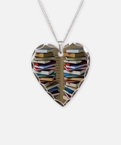 Book Lovers Flip Flops Necklace Heart Charm