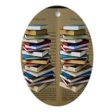 Book Lovers Flip Flops Oval Ornament