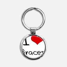 I Love Braces Round Keychain