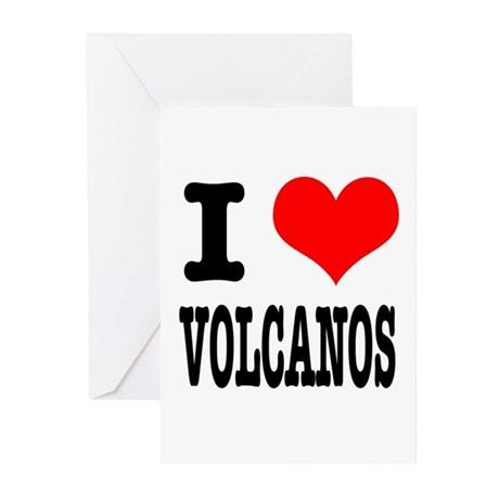 I Heart (Love) Volcanos Greeting Cards (Package of