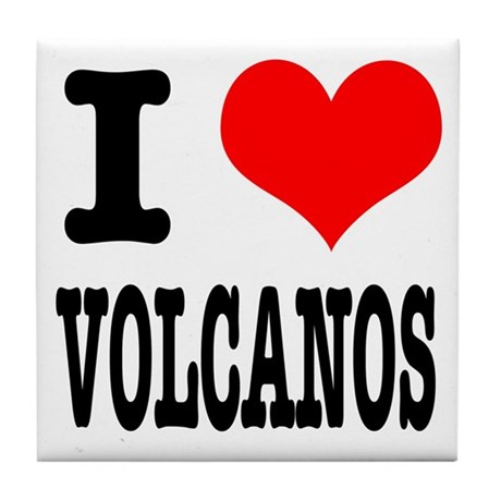 I Heart (Love) Volcanos Tile Coaster