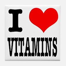 I Heart (Love) Vitamins Tile Coaster