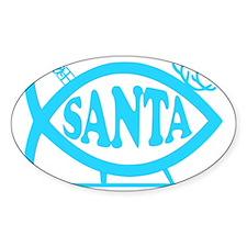 Santa Fish Baby Blue Decal