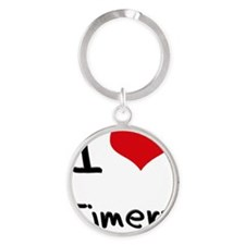 I Love Timers Round Keychain