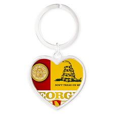 Georgia Gadsden Flag Heart Keychain