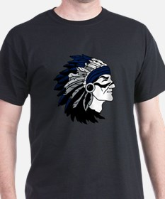 Native American Chief Head with Blue  T-Shirt