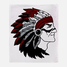 Native American Chief with Red Headd Throw Blanket