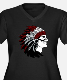 Native Ameri Women's Plus Size Dark V-Neck T-Shirt