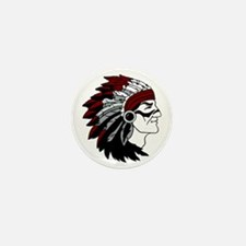 Native American Chief with Red Headdre Mini Button