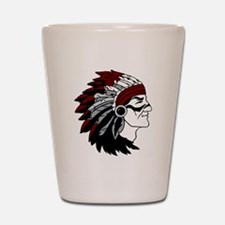 Native American Chief with Red Headdres Shot Glass