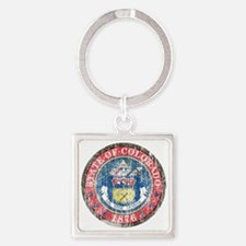 Aged Colorado Seal Square Keychain