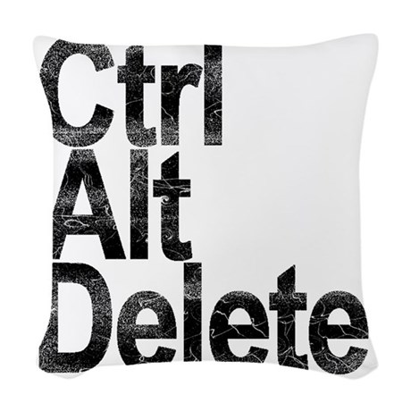 Control Alt Delete Woven Throw Pillow