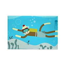 Sock Monkey Scuba Diver Rectangle Magnet