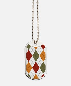 Red, Green and Orange Argyle Dog Tags