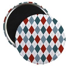 Red Blue and White Argyle Magnet
