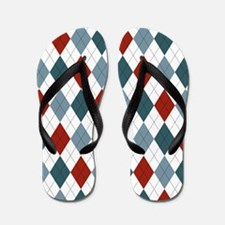 Red Blue and White Argyle Flip Flops