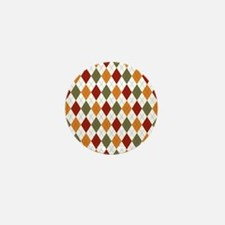 Red Green and Orange Argyle Mini Button