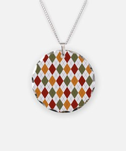 Red Green and Orange Argyle Necklace