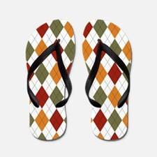 Red Green and Orange Argyle Flip Flops