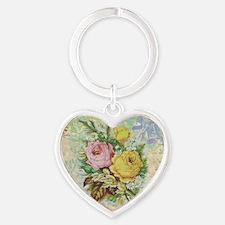 Beautiful Vintage rose design Heart Keychain