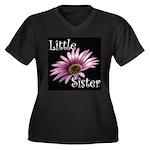 Little Sister Women's Plus Size V-Neck Dark T-Shir