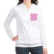 Hot Pink and White Damask Fitted Hoodie