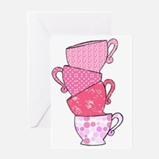 Pink Pattern Stacked Tea Cups Greeting Card