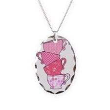 Pink Pattern Stacked Tea Cups Necklace