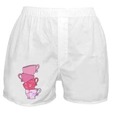 Pink Pattern Stacked Tea Cups Boxer Shorts