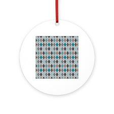 Blue Gray Argyle Round Ornament