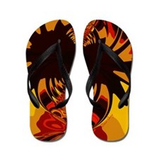 Ferocious Abstract Fractal Creature Flip Flops