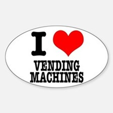 I Heart (Love) Vending Machines Oval Decal